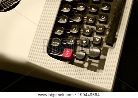 Antique  typewriter  vintage  typewriter machine , closeup photo