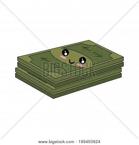 Billets and coins money kawaii cartoon icon vector illustration graphic design
