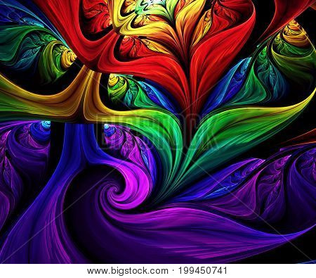 Computer generated fractal artwork with rainbow leaves