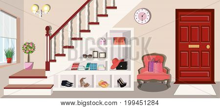 Entrance hall interior design under the stairs. Shelves with shoes, bags and books. Armchair near the entrance door. Flat style vector illustration.