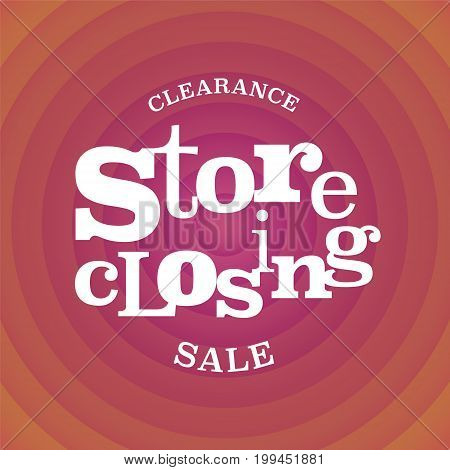 Store closing vector illustration, background with op art style red swirl. Template banner for clearance sale