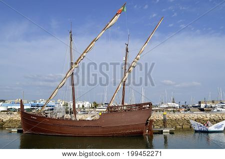Lagos Algarve Portugal - October 1 2014: Replica of the caravel Boa Esperan