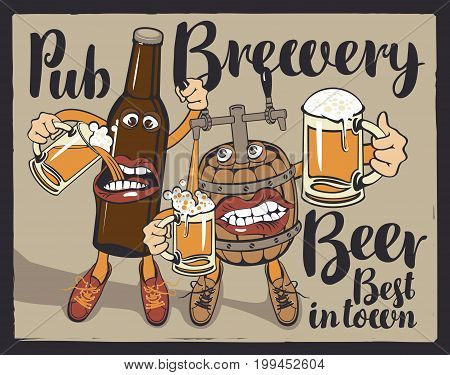 Vector banner with inscriptions pub brewery beer best in the town. Illustration in a flat style with a cheerful beer bottle and barrel which hold the glasses with beer