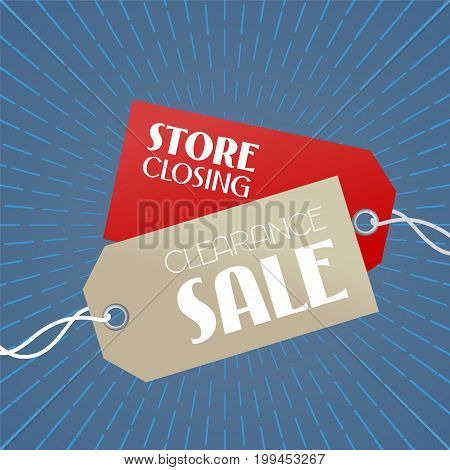 Clearance sale vector illustration, background with price tags. Template banner for store closing