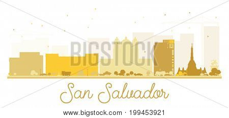 San Salvador City skyline golden silhouette. Simple flat concept for tourism presentation, banner, placard or web site. Cityscape with landmarks.