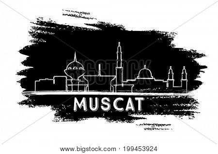 Muscat Oman Skyline Silhouette. Hand Drawn Sketch. Business Travel and Tourism Concept with Modern Architecture. Image for Presentation Banner Placard and Web Site.