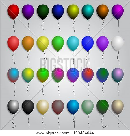 BIG set of colorful balloons, vector illustration isolated