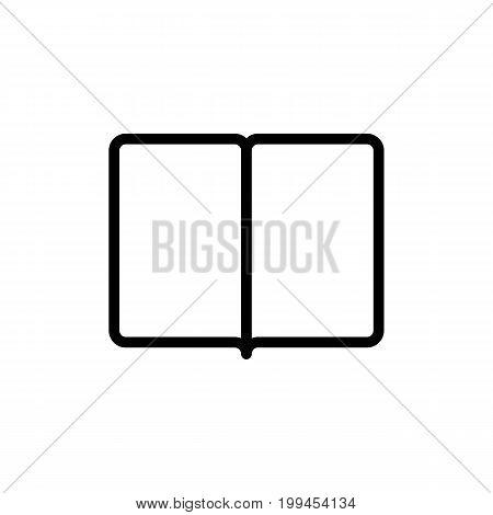 Thin Line Book, Magazine Icon On White Background