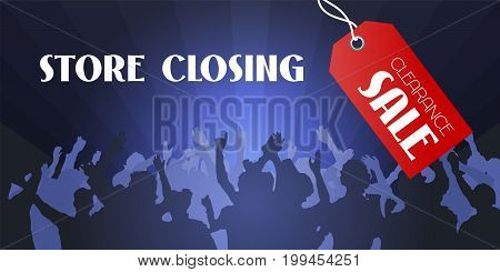 Store closing sale vector illustration, background. Template banner, flyer with crowd of people waiting for closing clearance sale