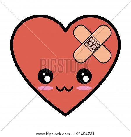 Heart and cardiology kawaii cartoon vector illustration graphic design