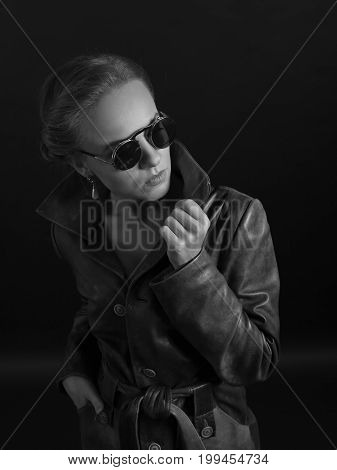 Portrait Of Beautiful Woman In Leather