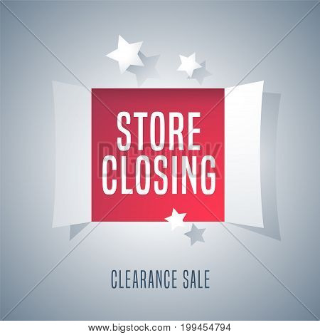 Store closing sale vector illustration, background. Template banner, flyer for clearance sale