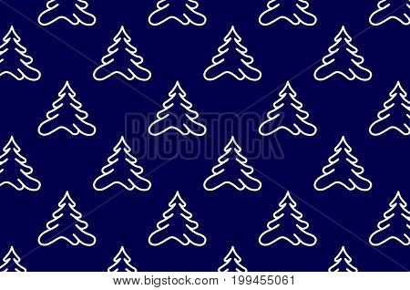 Coniferous tree - vector pattern , White tree on a blue background