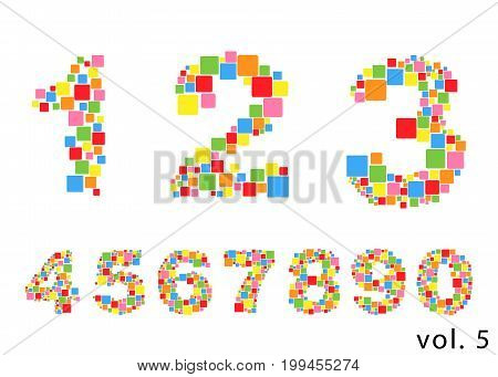 Arabic numerals set 1-10. Colored figures Version 5