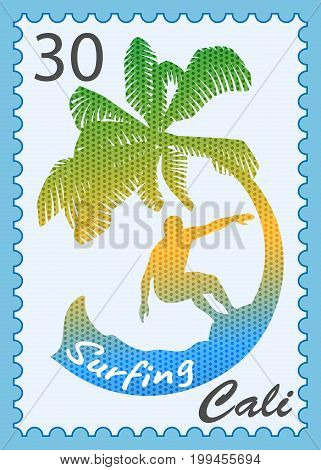 vector postage stamp with surfer on a blue background