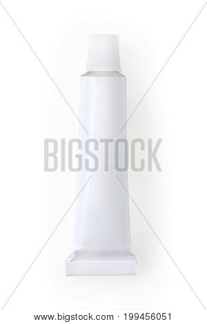 Small White Metallic Tube. Isolated With Clipping Path