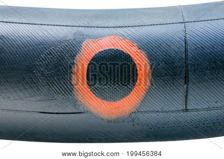 Bike Tire With Applied Patch Close Up