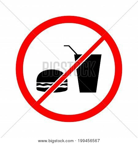 No food and drink icon. Silhouette hamburger in red circle. Sign no meal on white background. Label no eating. Symbol forbidden fast food for posterbanner. Mark warning. Flat vector illustration