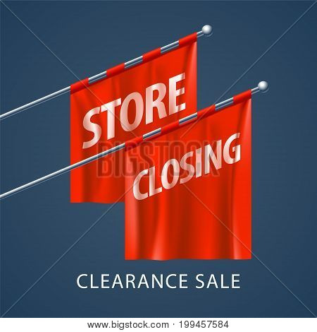 Store closing vector illustration, background with red flags. Template banner for clearance sale