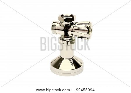 Golden faucet isolated a on white background