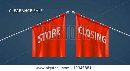 Store closing vector illustration with red flags. Template banner, invitation for clearance sale