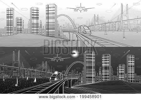 Infrastructure and transport panorama. Train move on railway. Airplane fly. Big cable-stayed bridge. Modern night city, towers and skyscrapers. Lines on dark and light background. Vector design art