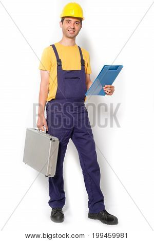 Mechanic Holding Toolbox Ready To Work Isolated
