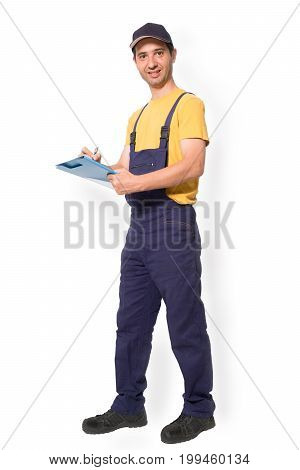Mechanic Worker Standing With Clipboard