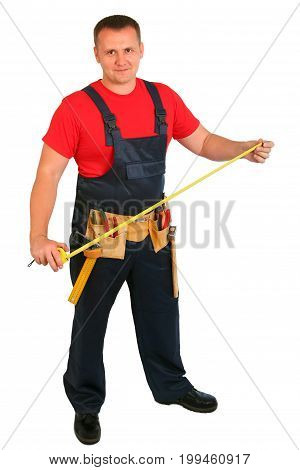 Full length portrait of an happy caucasian construction worker isolated on white background. Smiling handsome plumber. Handyman isolated on white background