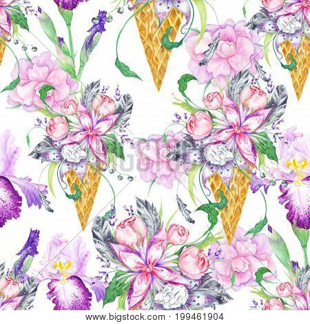 Seamless background with pink peony, lilac and iris flowers and grey feathers on white background