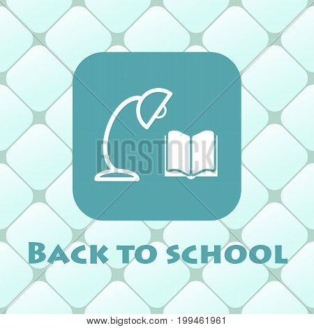 Back to school vector illustration with book, reading lamp.