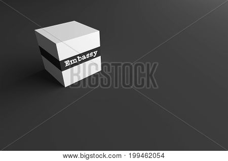 3D RENDERING WORD Embassy WRITTEN ON WHITE CUBE WITH BLACK PLAIN BACKGROUND