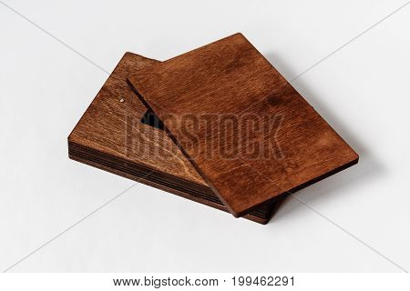 Empty Packaging For Usb Drive. Dark Wooden Box For Usb-storage For A Photographer, On A White Isolat