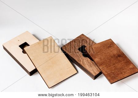 Two Empty Packaging For Usb Drives. Wooden Boxes For Usb-storages For A Photographer, On A White Iso