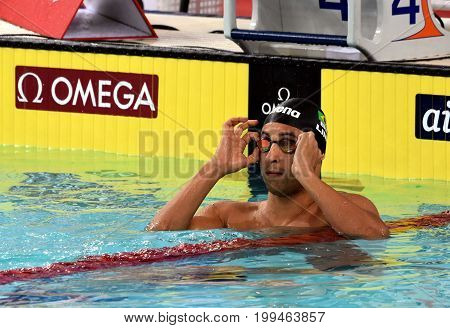 Hong Kong China - Oct 30 2016. Competitive swimmer LIMA Felipe (BRA) after the Men's Breaststroke 100m Final. FINA Swimming World Cup Victoria Park Swimming Pool