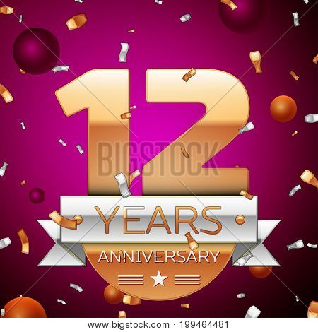 Realistic Twelve Years Anniversary Celebration Design. Golden numbers and silver ribbon, confetti on purple background. Colorful Vector template elements for your birthday party