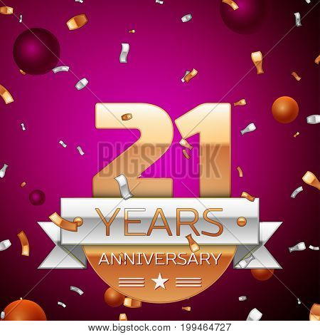 Realistic Twenty one Years Anniversary Celebration Design. Golden numbers and silver ribbon, confetti on purple background. Colorful Vector template elements for your birthday party