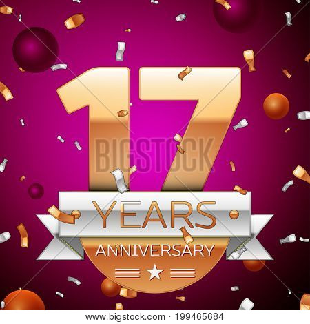 Realistic Seventeen Years Anniversary Celebration Design. Golden numbers and silver ribbon, confetti on purple background. Colorful Vector template elements for your birthday party