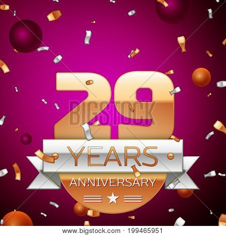 Realistic Twenty nine Years Anniversary Celebration Design. Golden numbers and silver ribbon, confetti on purple background. Colorful Vector template elements for your birthday party