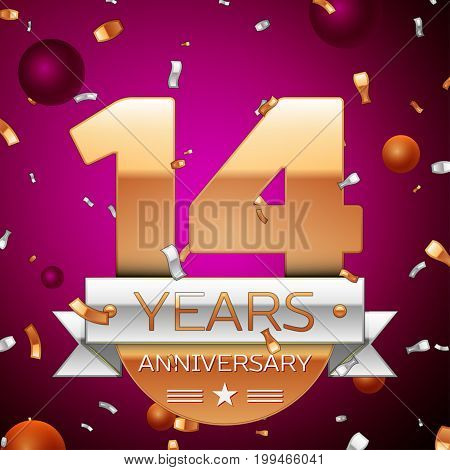Realistic Fourteen Years Anniversary Celebration Design. Golden numbers and silver ribbon, confetti on purple background. Colorful Vector template elements for your birthday party