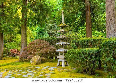 Portland, Or - May 27, 2017: Japanese Garden With A Stone Pagoda Lantern