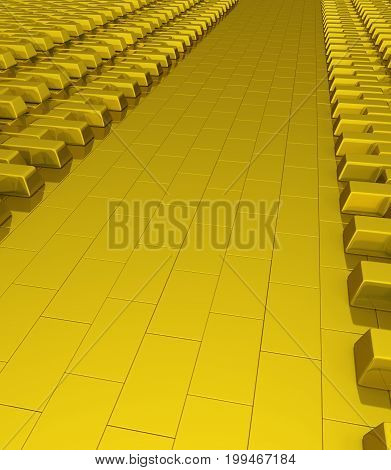 Golden reserve empty storage surface 3d illustration vertical