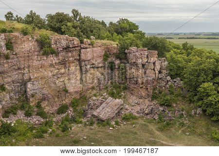 A cliff scenic landscape at a former rock quarry.