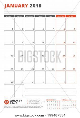 Calendar Template For January 2018. Business Planner 2018 Template. Stationery Design. Week Starts O