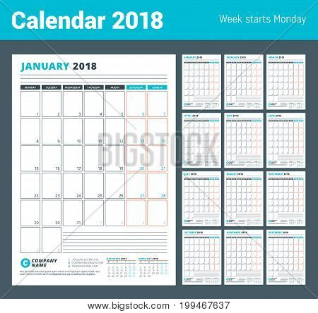 Calendar Template for 2018 Year. Business Planner 2018 Template. Stationery Design. Week starts on Monday. Set of 12 Months. Vector Illustration
