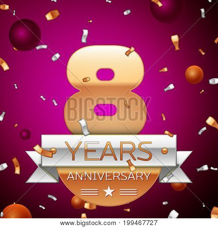 Realistic Eight Years Anniversary Celebration Design. Golden numbers and silver ribbon, confetti on purple background. Colorful Vector template elements for your birthday party
