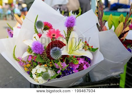 Close Up Of Beautiful Summer Bouquets At The Farmers Market