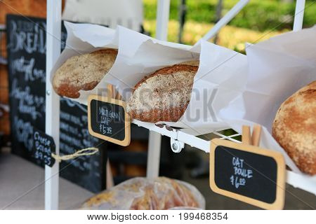 Fresh Homemade Dark Bread For Sale At The Farmers Market