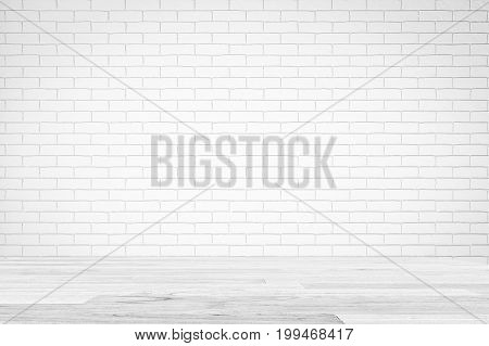 White Brick Wall Texture with white wooden table , Empty Abstract Background for Presentations for Text Composition art image, website, magazine or graphic design.