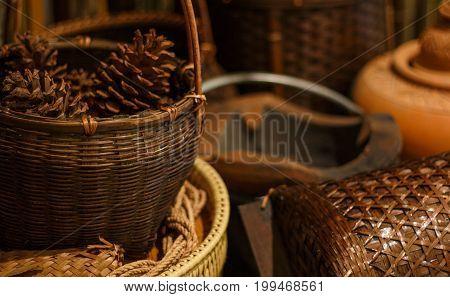 beautiful antique wicker basket handmade in thailand